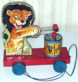 Vintage Fisher Price Pull Toy Leo the Drummer